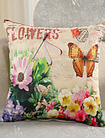 1 Pcs Retro Flowers With Butterfly Cotton/Linen Pillow Cover Fashion Pillow Case