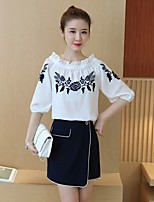 Women's Casual/Daily Work Simple Shirt Skirt Suits,Solid Boat Neck ½ Length Sleeve Ruffle Micro-elastic