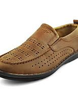 Men's Loafers & Slip-Ons Comfort Fabric Spring Summer Casual Comfort Flat Heel Camel Black Flat
