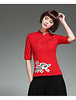 Women's Casual/Daily Holiday Vintage Chinoiserie Shirt,Solid Embroidered Stand ½ Length Sleeve Bamboo Fiber Spandex