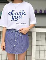 Для женщин На каждый день Лето Как у футболки Юбки Костюмы Круглый вырез,Милые С принтом
