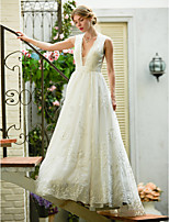 2017 LAN TING BRIDE A-line Wedding Dress - Chic & Modern Glamorous & Dramatic See-Through Beautiful Back Sweep / Brush Train V-neck Lace Tulle