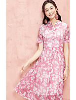 I BELIEVE YOUWomen's Daily Casual Swing DressFloral V Neck Knee-length Short Sleeve Polyester Summer High Rise Inelastic Thin