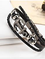 Homme Couple Bracelets en cuir Vintage Cuir Forme Géométrique Bijoux Pour