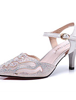 Women's Heels Comfort Leather Glitter Spring Casual Screen Color Light Pink Black Flat
