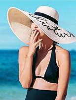 Femme Décontracté Polyester Paillette Chapeau de Paille,Solide Printemps Eté Couleur unie