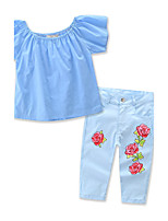 Girls' Fashion Summer Floral / Botanical Print SetsCotton Summer Long Pant Clothing Set Kids Baby Clothes Roses Suit