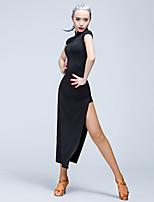 Dança Latina Vestidos Mulheres Cetim Seda Sintética 1 Peça Manga Curta Natural Vestidos