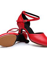 Women's Latin Leather Heels Outdoor Buckle Low Heel Red Silver Black Gold 2