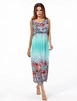 Women's Plus Size Boho Chiffon Swing Dress,Print V Neck Maxi Sleeveless Polyester Summer High Rise Micro-elastic Medium