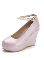 Women's Heels Comfort Patent Leather Fall Casual Party & Evening Comfort Wedge Heel Light Pink Light Blue White 4in-4 3/4in