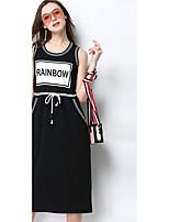 Gaine Robe Femme QuotidienCouleur Pleine A Bretelles Midi Manches Courtes Coton Eté Taille Normale Micro-élastique Moyen