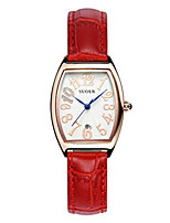 Women's Fashion Watch Quartz Digital Water Resistant / Water Proof Leather Band Red