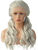 HOT!! Double Ponytail Gray Natural Wave Fiber Hair Wig For White Women Heat Resistant Long Artificial Synthetic Lace Front Wigs
