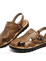 Men's Sandals Comfort Cowhide Nappa Leather Spring Casual Comfort Dark Brown Brown Flat