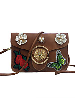 Women Mobile Phone Bag PU leatherette All Seasons Casual Event/Party Outdoor Sling Bag Rhinestone Embroidered Flower Clasp LockBrown Red