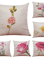 Set of 6 Hand Painted Flowers Pattern Linen Pillowcase Sofa Home Decor Cushion Cover  Throw Pillow Case (18*18inch)