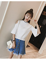 Women's Going out Casual/Daily Short Cardigan,Solid Round Neck ½ Length Sleeve Cotton Summer Medium Micro-elastic