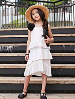 Девичий Платье Искусственный шёлк Однотонные Лето Без рукавов