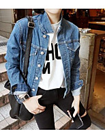 Women's Casual/Daily Simple Street chic Spring Fall Denim Jacket,Solid Cowl Long Sleeve Regular Oxford