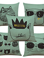 Set of 5 Creative Cartoon Animals Pattern  Linen Pillowcase Sofa Home Decor Cushion Cover (18*18inch)