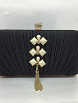 Women's Evening Bag Silk All Seasons Event/Party Baguette Push Lock Silver Black Gold