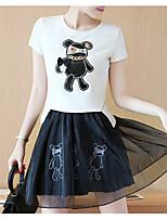 Women's Daily Soak Off Summer T-shirt Skirt Suits,Solid Crew Neck Short Sleeve