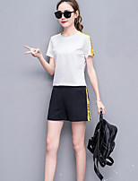 Women's Going out Casual/Daily Cute T-shirt Pant Suits,Solid Round Neck Half Sleeve Patchwork strenchy