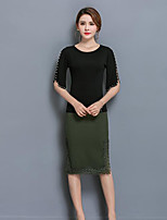 Women's Casual/Daily Simple Summer T-shirt Dress Suits,Solid Round Neck Short Sleeve