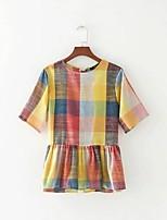 T-shirt Da donna Per uscire Casual Sensuale Semplice Moda città Estate,Griglia / Patterns Plaid Rotonda Cotone Manica cortaSottile Medio