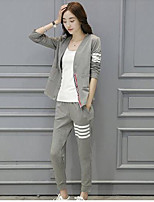 Women's Casual/Daily Beach Sports Vintage Street chic Active Hoodie Pant Suits,Solid Round Neck Long Sleeve