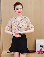 Women's Casual/Daily Simple Fall T-shirt Skirt Suits,Solid Deep V Short Sleeve