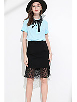 MEIDONGTAI Women's Going out Above Knee Skirts Slim Solid Summer