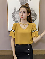 Women's Going out Cute Blouse,Solid V Neck Short Sleeve Others