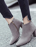 Women's Boots Comfort PU Spring Casual Gray Black Flat