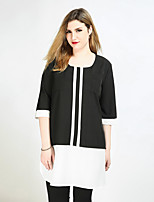 Really Love Women's Plus Size Casual/Daily Holiday Sexy Vintage Simple Spring Summer T-shirt,Color Block Patchwork Round Neck ¾ Sleeve Polyester