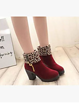 Women's Boots Comfort PU Spring Casual Comfort Black Yellow Ruby Flat