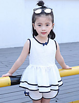Girls' Solid Color Sets,Cotton Polyester Summer Sleeveless Clothing Set