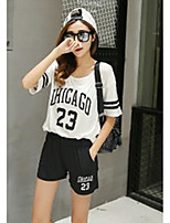 Women's Casual/Daily Simple T-shirt Skirt Suits,Geometric Round Neck Short Sleeve Jacquard strenchy