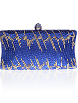 Women Evening Bag PU Polyester All Seasons Wedding Event/Party Formal Minaudiere Rhinestone Clasp Lock Ruby