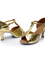 Customizable Women's Latin Paillette Sandals Indoor Sequin Customized Heel Gold