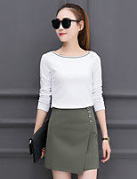 Women's Going out Casual/Daily Beach Vintage Cute Street chic Hoodie Skirt Suits,Solid Round Neck Long Sleeve