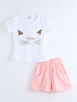 Girls' Animal Print Sets,Cotton Summer Short Sleeve Clothing Set