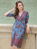 Women's Plus Size A Line Dress,Solid Round Neck Midi Long Sleeve Silk All Seasons Mid Rise Micro-elastic Medium