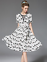 OUYALIN Women's Plus Size Casual/Daily Vintage Simple A Line Sheath Swing DressFloral Round Neck Knee-length Short Sleeve