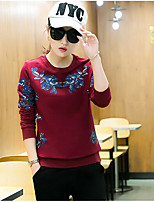 Women's Casual/Daily Simple Spring Hoodie Pant Suits,Solid Print Round Neck Long Sleeve
