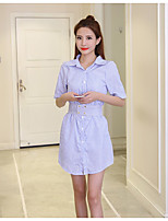 Women's Going out Holiday Sexy Cute Shirt,Striped Shirt Collar ½ Length Sleeve Polyester
