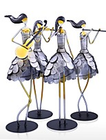 Singing Girl Figurine Metal Handicraft Statuette Paint Fairy Music Craft Gift One Set Home Decoration Accessories