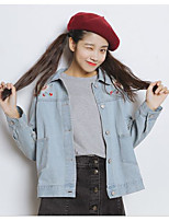 Women's Daily Cute Spring Denim Jacket,Embroidery Stand Long Sleeve Regular Cotton