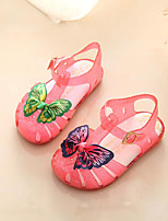 Girls' Sandals First Walkers PU Spring Fall Casual First Walkers Magic Tape Flat Heel Ruby White Flat